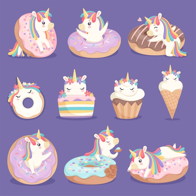 Unicorn donuts. cute face and characters of magic rose little pony unicorn with cakes donuts ice cream vector dessert pictures. unicorn with sweet cream, little cake and imaginative pony illustration Premium Vector