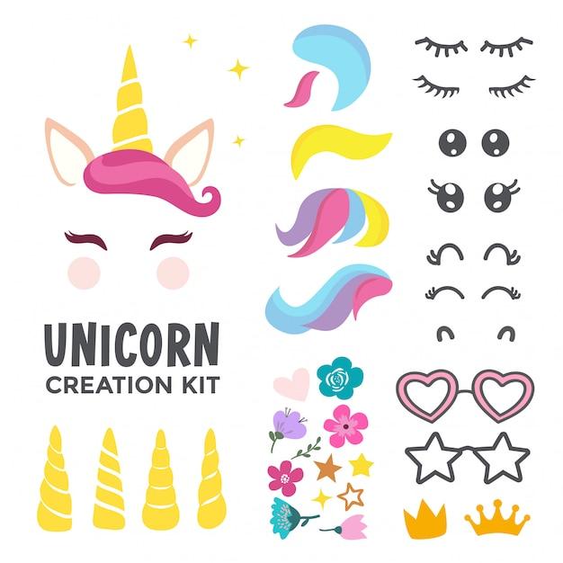 Unicorn face creation kit Premium Vector