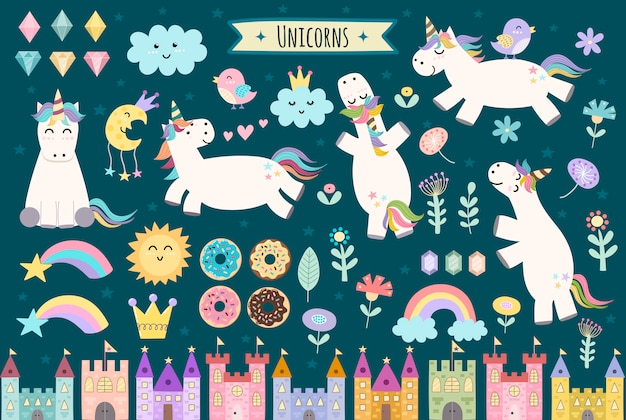 Unicorn and fairytale isolated elements for your design. castles, rainbow, crystals, clouds and flowers. cute clipart collection. Premium Vector