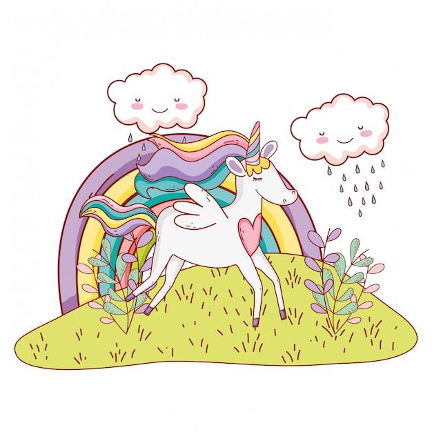 Unicorn fantasy cartoon Premium Vector