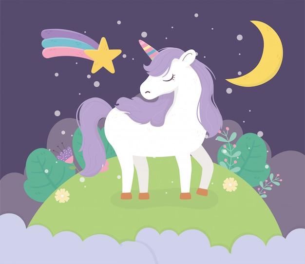 Unicorn field moon night star fantasy magic dream cute cartoon Premium Vector