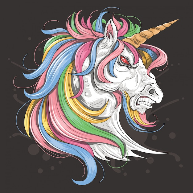 Unicorn fierce rainbow full color Premium Vector