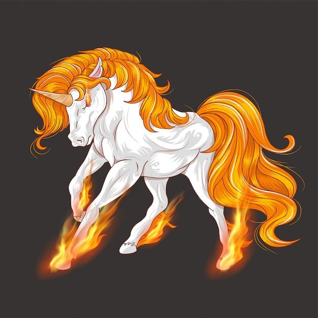 Unicorn fire awesome vector Premium Vector