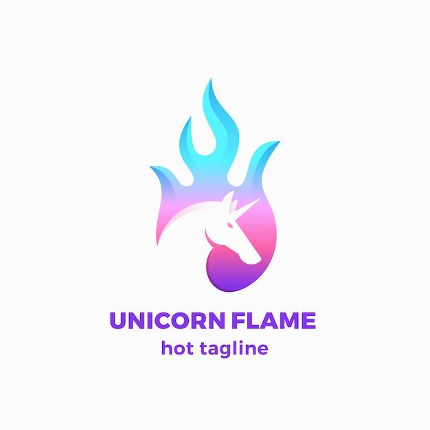 Segno astratto della fiamma dell'unicorno, simbolo o modello di logo. Vettore gratuito