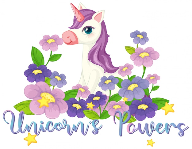 Unicorn in the flower garden sign Free Vector