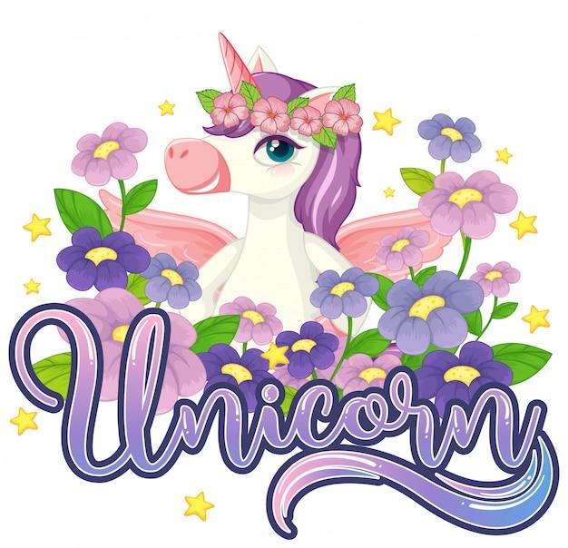 Unicorn in the flower garden sign Premium Vector