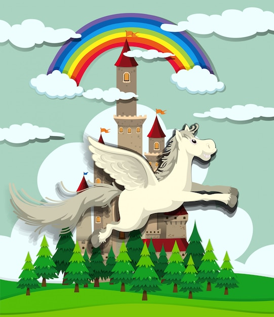 Unicorn flying over the castle Free Vector