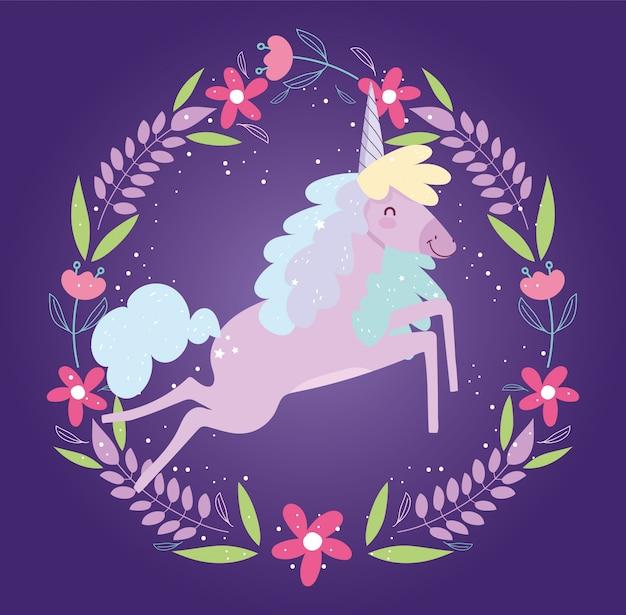 Рамка из единорога цветы фэнтези магия милый мультфильм Premium векторы