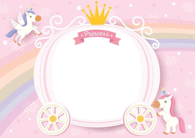 Unicorn frame Premium Vector