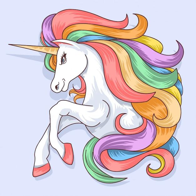 Unicorn full colour rainbow Premium Vector