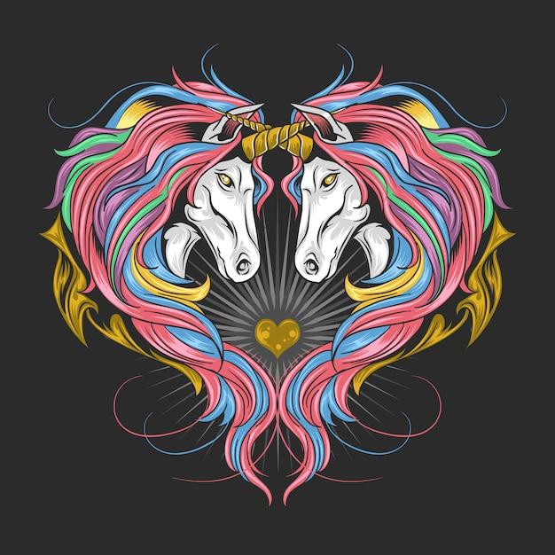 Unicorn full rainbow spectrum color hair, twin unicorn make heart shape. artwork is in editable layers, Premium Vector