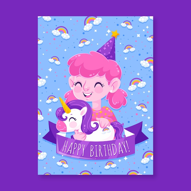 Unicorn and girl with pink hair birthday invitation Free Vector