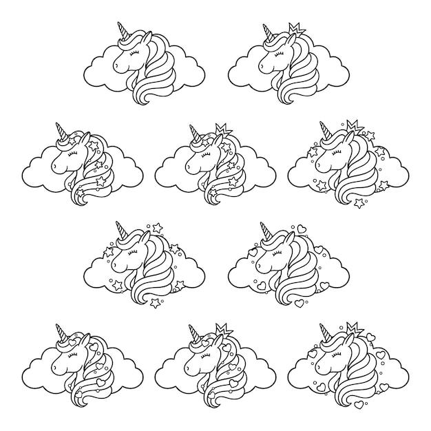 Unicorn head set with cloud, stars and hearts. Premium Vector