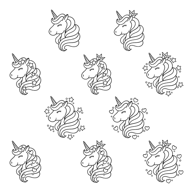 Unicorn head set with stars and hearts. Premium Vector