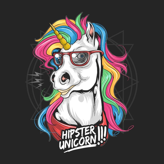 Unicorn hipster use glasses rainbow hair full colour very cute face Premium Vector