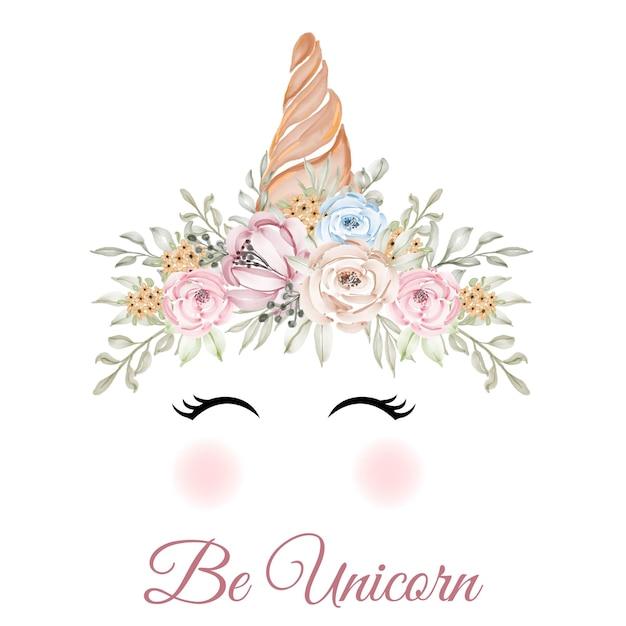 Corno di unicorno con corona di fiori rosa verde giallo Vettore gratuito