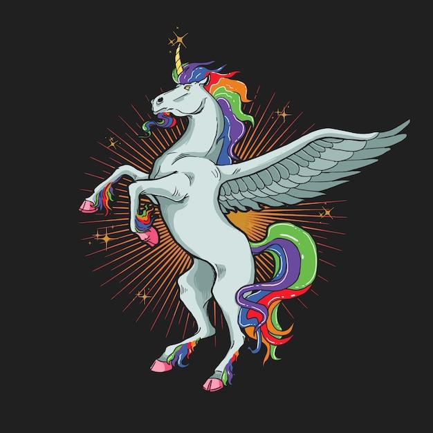 Unicorn horse illustration  graphic Premium Vector