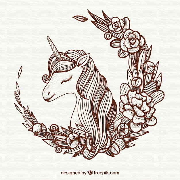 Unicorn illustration background and floral wreath Free Vector