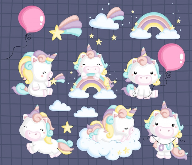 Unicorn image set Premium Vector