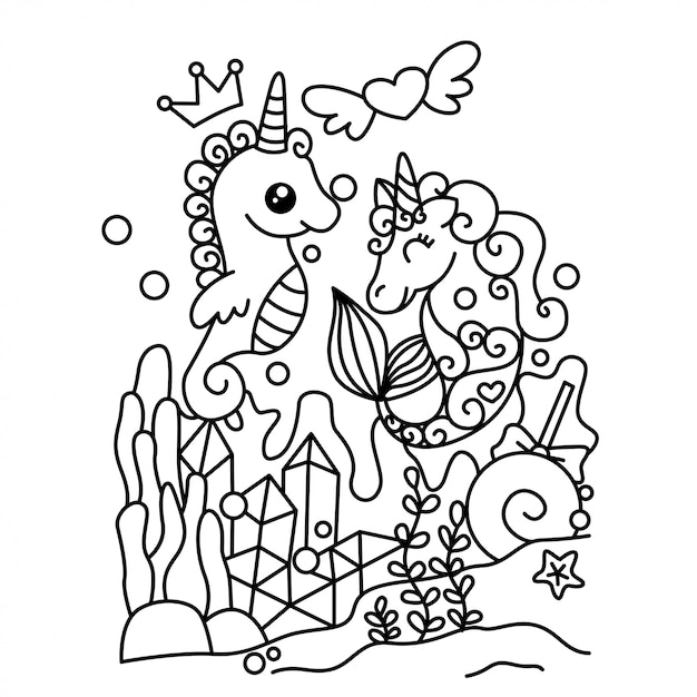 Единорог в море doodle иллюстрация Premium векторы