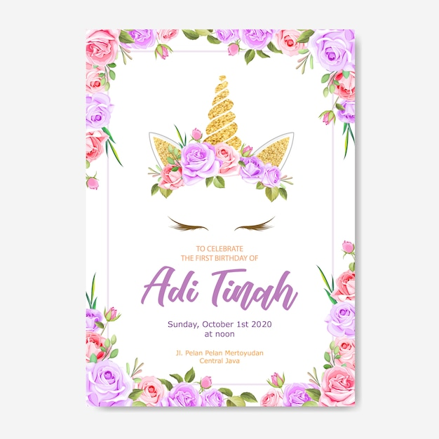 Unicorn invitation card with floral wreath and gold glitter Premium Vector