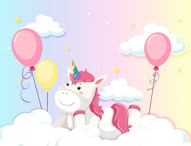 Unicorn lay on the cloud on colorful pastel sky background Free Vector