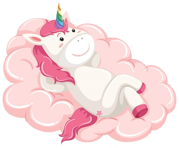 A unicorn lay down on the cloud Free Vector
