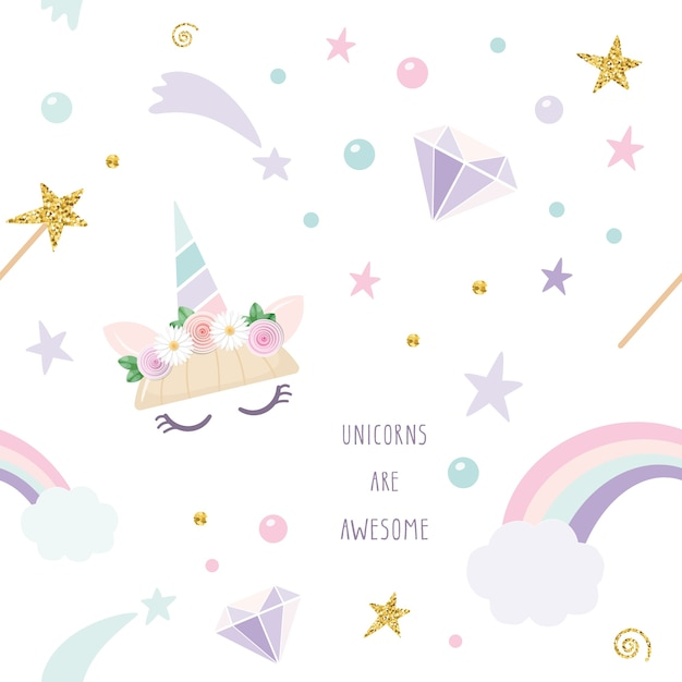 Unicorn magic seamless pattern background. Premium Vector