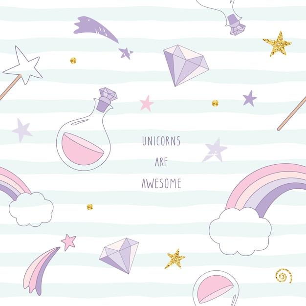 Unicorn magic seamless pattern with rainbow, stars and diamonds. Premium Vector