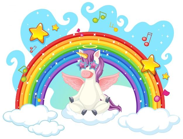 Unicorn meditate on the sky Free Vector
