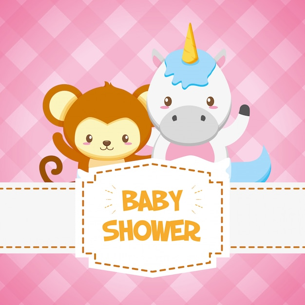 Unicorn and monkey for baby shower card Free Vector