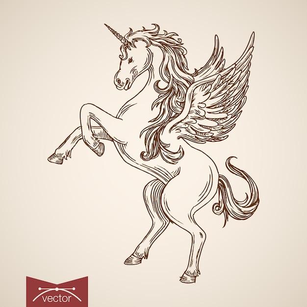 後ろ足で立っているユニコーン神話の空飛ぶ生き物動物野生の馬の風 無料ベクター