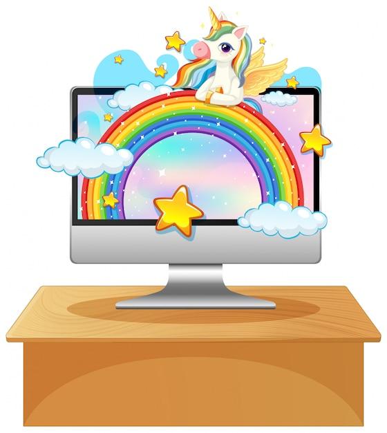 노트북 바탕 화면 배경에 유니콘 프리미엄 벡터