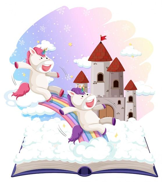 Unicorn on open book template Free Vector