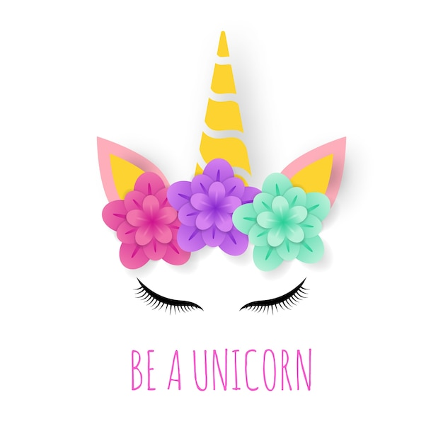 Unicorn paper art logo Premium Vector