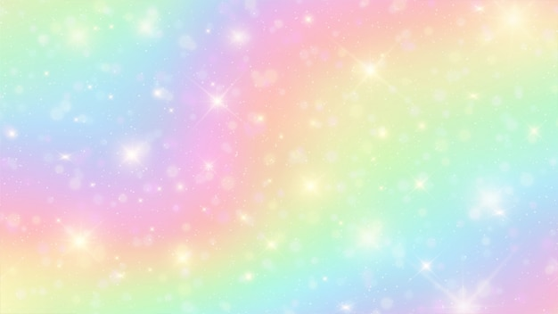 The unicorn in pastel sky with rainbow background Premium Vector