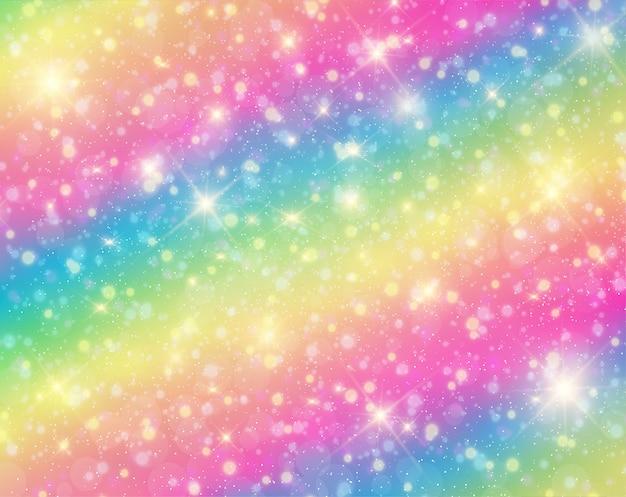 Unicorn in pastel sky with rainbow. Premium Vector
