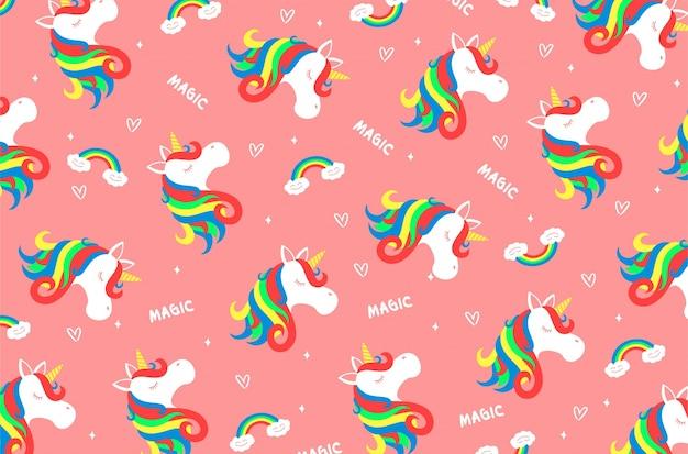 Flores Horizontales Dibujos Animados Patrón De Fondo: Unicorn Pattern Wallpaper Vector