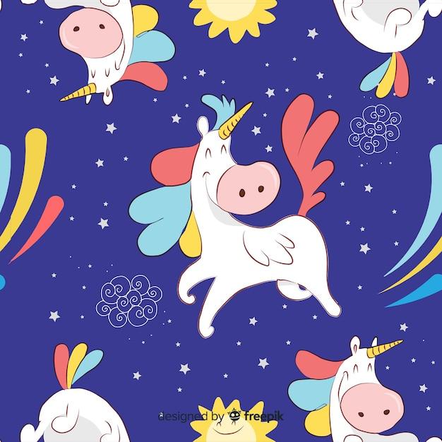 Unicorn pattern Free Vector