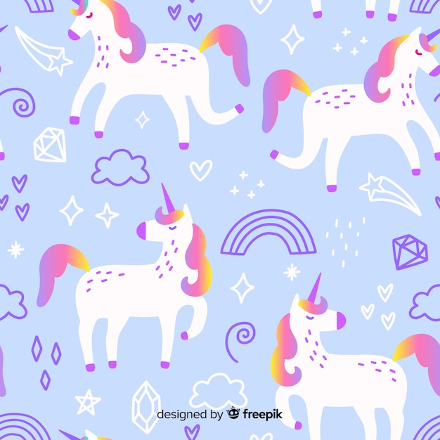Unicorn pattern Free Vector