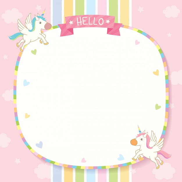 Unicorn pinkk template Premium Vector