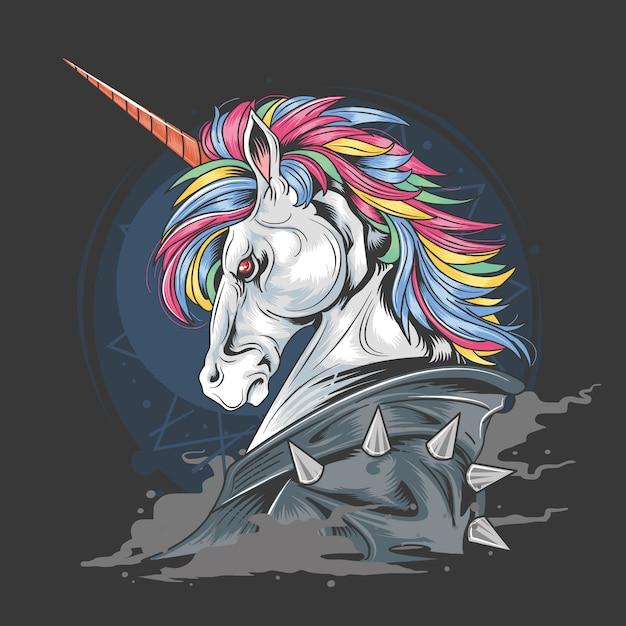 Unicorn punk rock jacketスモーク詳細ベクトル要素 Premiumベクター