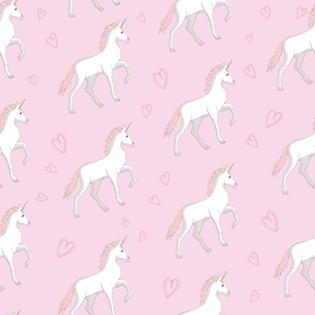 Unicorn and rainbow seamless pattern Premium Vector