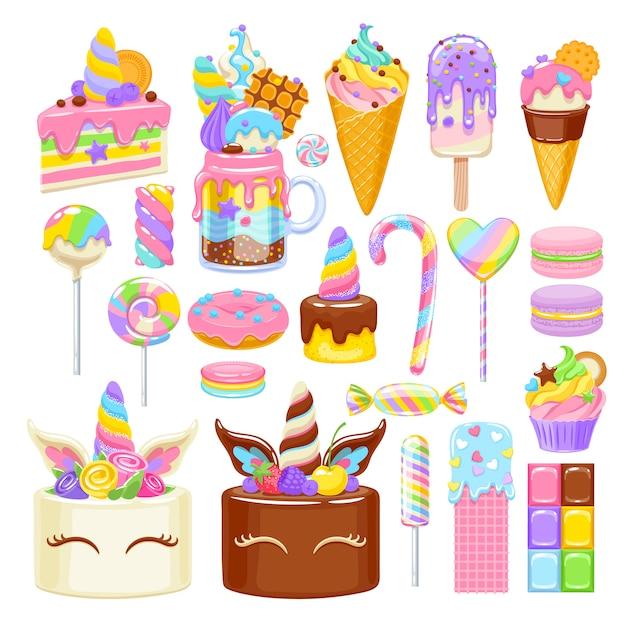 Набор сладостей радуги единорога. ассорти из конфет, печенья и тортов. Premium векторы