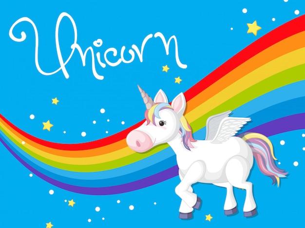 Unicorn on rainbow template Premium Vector