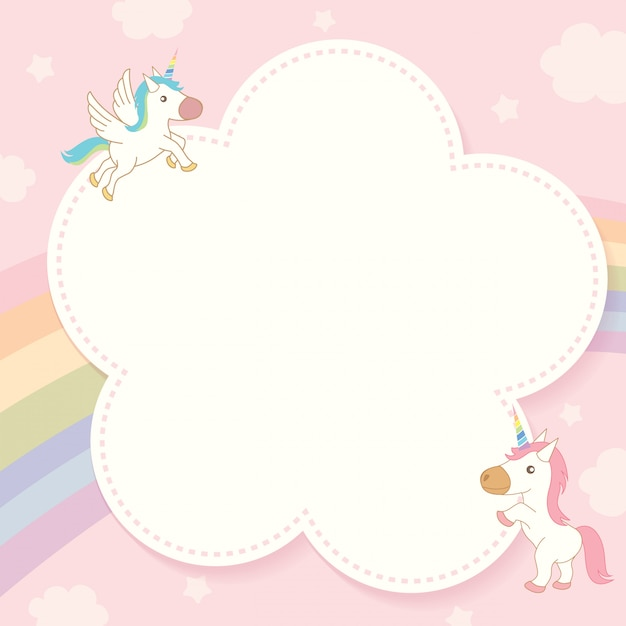 Unicorn and rainbow template. Premium Vector