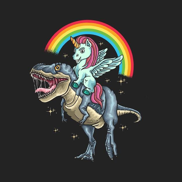 Unicorn ride dinosaur illustration Premium Vector
