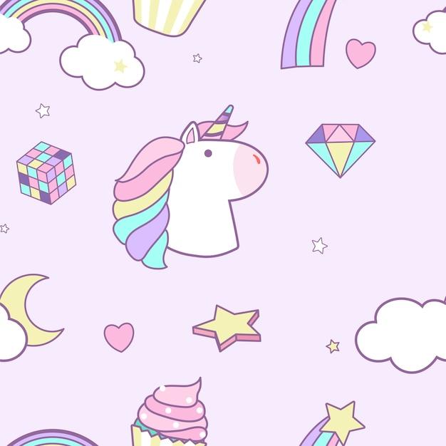 Unicorn seamless pattern background vector Free Vector