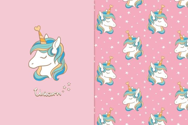 Unicorn seamless pattern greeting card Premium Vector