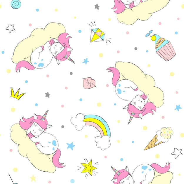 Unicorn seamless pattern Premium Vector